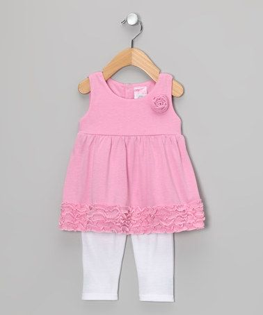 Take a look at this Pink Rose Babydoll Tunic & White Leggings - Infant & Toddler by Angel Face on #zulily today!