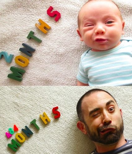 HAHAHAHAHAHAH  We actually love this idea for milestone photos (even though it requires a little math...)