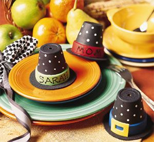 For thanksgiving or halloween - pilgrim or witch hats from terracotta mini pots - cute!