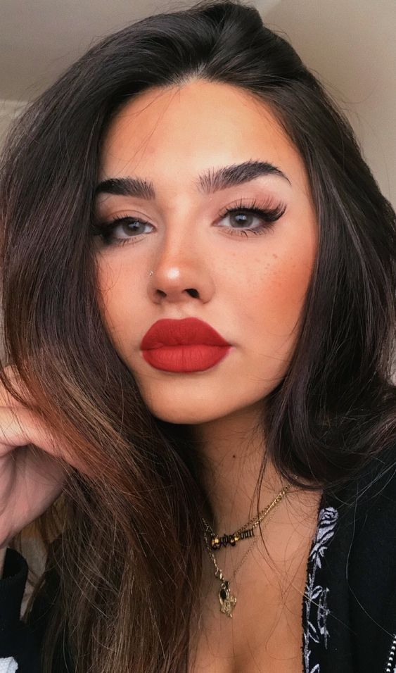 Red Lips Tan Skin Makeup Looks Tan Skin Makeup Skin Makeup