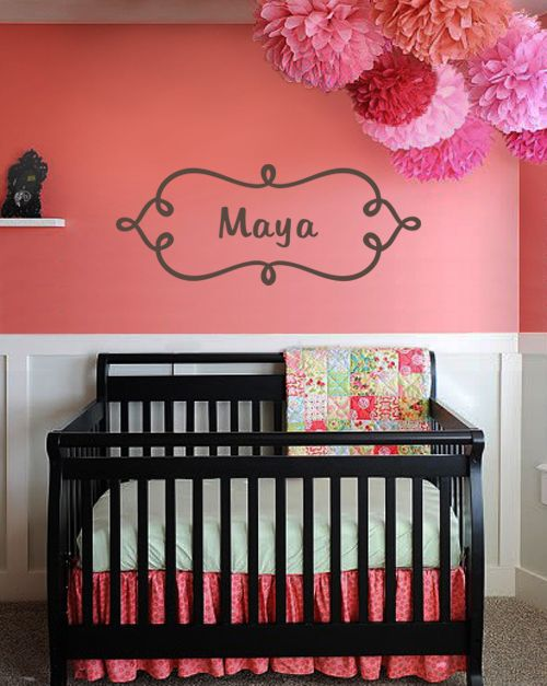 Swirl Frame Name Wall Decal from www.tradingphrases.com- I just had to share this one, it is too cute to pass up!