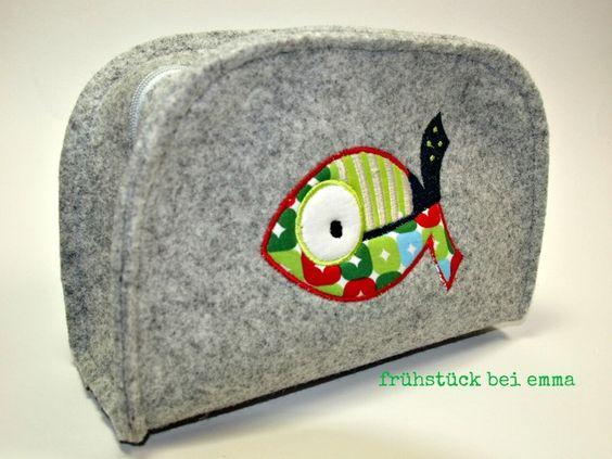 Wollfilz Täschchen Koffer Fisch Tasche Kinder grau