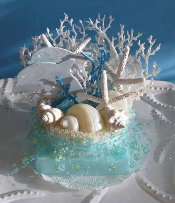 dolphin wedding cake dolphin coral reef wedding cake topper starfish seashells 13697