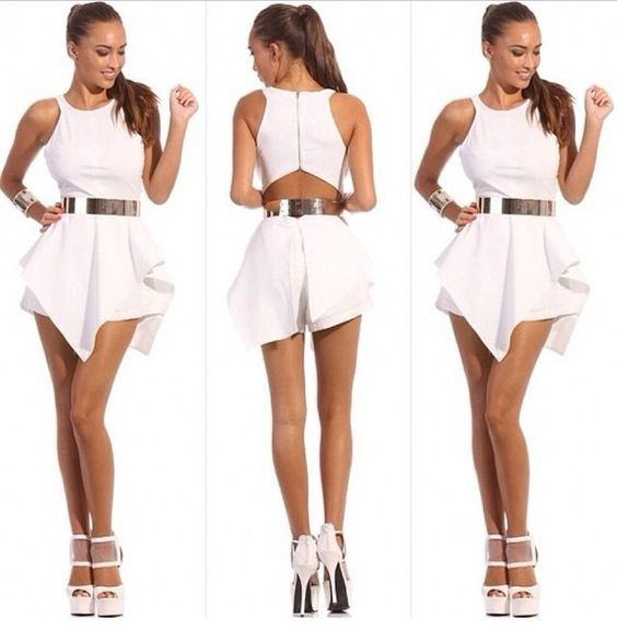 all white party jumpsuits | Shorts-Cut-Open-Hollow-Out-White ...