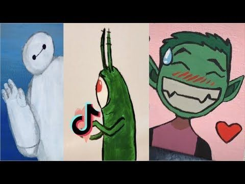 Tiktok Painting Compilation 2 Youtube Compilation Painting Tiktok Youtube Spongebob Drawings Cool Easy Drawings Drawings