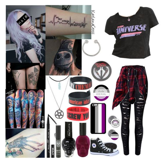 """Style #417"" by katlanacross ❤ liked on Polyvore featuring Converse, Kat Von D and Miss Selfridge"