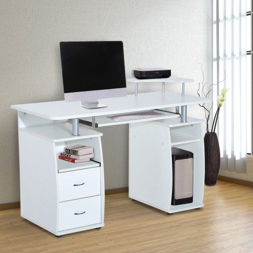 Homcom White Computer Table 2 Drawers Wooden Office Pc Desk Desktop Home Furniture Workstation Keyboard Shelf Writing Corner Office Desks Workstations Aoso Computer Table Design Pc Desk Computer Desk Design