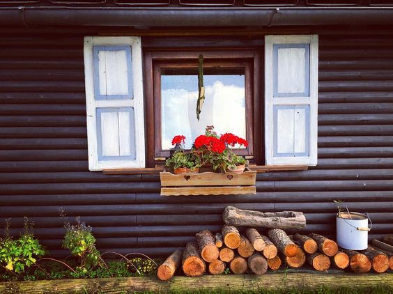 #mountain #moutaincabin #window #flowers #wood #mountainlife #simplelife #simplelife #tinyhouse #cabin