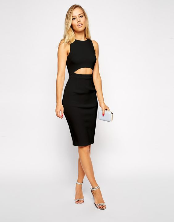 2 Piece midi dress black