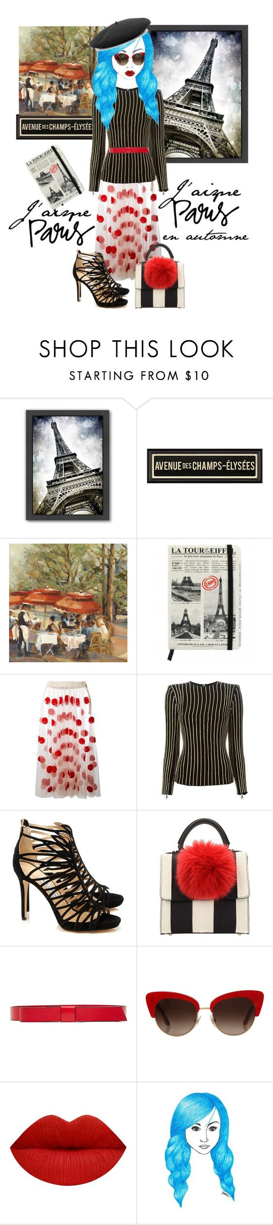 """I love Paris"" by rehtaeh69 ❤ liked on Polyvore featuring Americanflat, MSGM, Balmain, Jimmy Choo, Les Petits Joueurs, Marni, Dolce&Gabbana and Gucci"