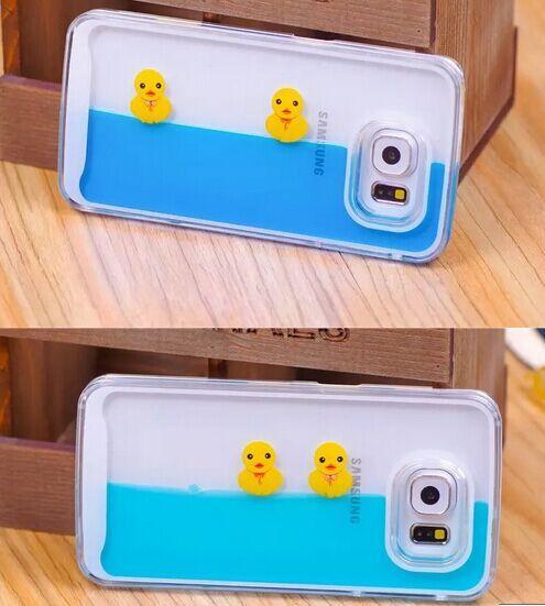 Cute 3d Cartoon Duck Tank Liquid Aquarium Swimming Case for Samsung Galaxy Note 5 S6 S6 Edge S6 Edge Plus - Galaxy Note 4 Bling Cases - Galaxy Note 4 Cases - Galaxy Note 5/4/3 Cases