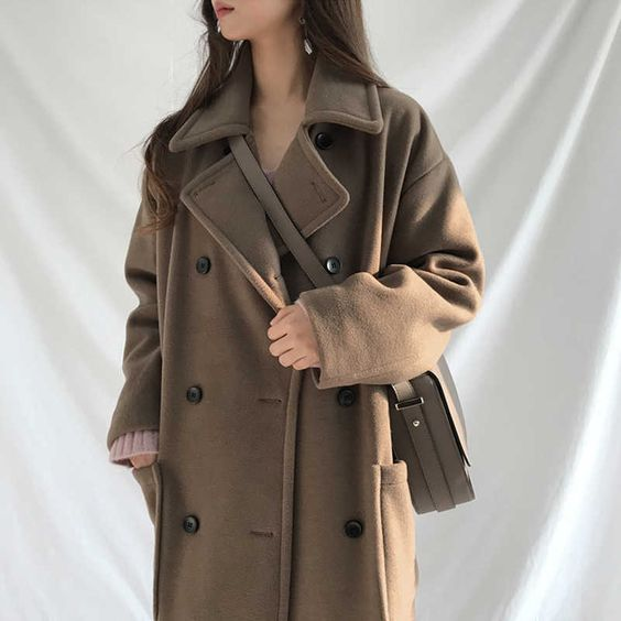 Осенне-зимнее пальто женское Шерстяное Пальто оверсайз длинное пальто шерстяное пальто женская верхняя одежда