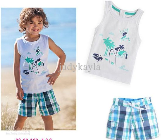Summer clothes kids sets boys relaxation suit beach clothes set 2 ...