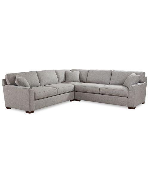 Furniture Closeout Carena 3 Pc Fabric L Shaped Sectional Sofa