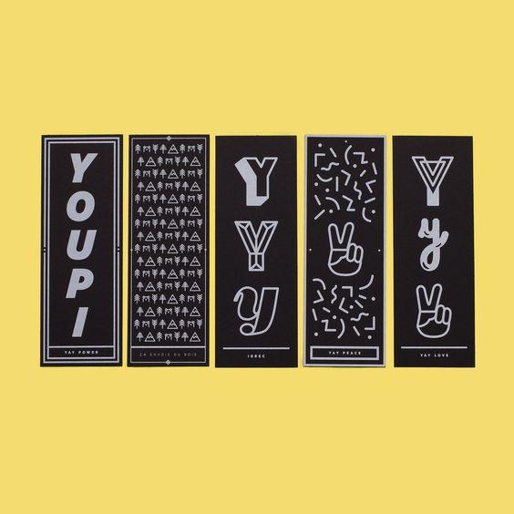 Collectif YAY — Pack de 5 marques page ! Impression sérigraphie artisanale Blanc sur Keaykolour Ébène 300 gr