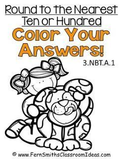 Third Grade Math - Unit One - Color Your Answers Printables #TPT $Paid and #FREE