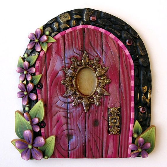 Pink princess fairy door kids home decor wall art doors for Pink fairy door