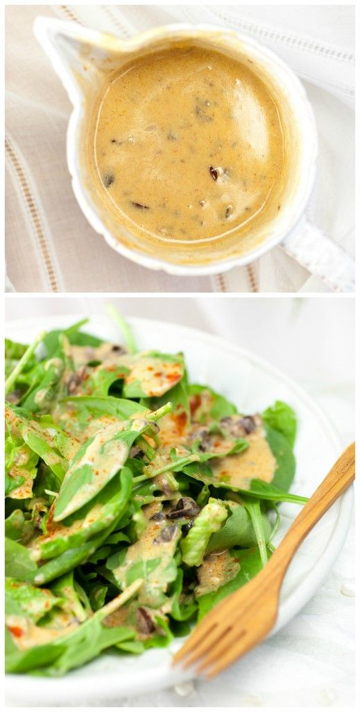 Trying different Salad Dressing: = Greek Hummus Salad Dressing = 1/2 cup hummus (your favorite kind, Greek would be perfect) 1 lemon, juiced (1/4 cup) 2 Tbsp. olive oil 1/4 tsp. paprika pinch of vegan sugar 10 kalamata olives, minced