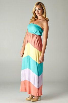 Piper Multi Color Block Maternity Maxi Dress maternity dress ...