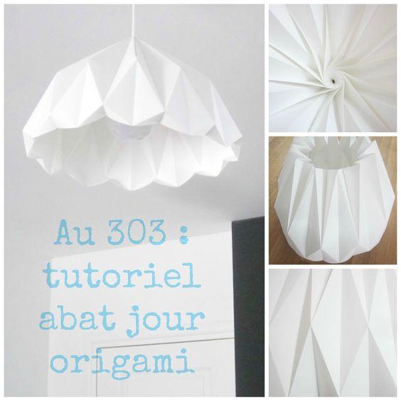 abat jour origami diy r alisations d co au 303 pinterest bricolage tutoriels et origami. Black Bedroom Furniture Sets. Home Design Ideas