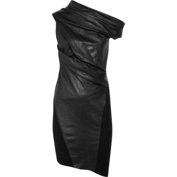 Helmut Lang leather and wool dress