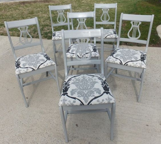 Set of 6 vintage Duncan Phyfe style harp back (lyre) chairs - painted pale gray & distressed, with ivory, gray and black fabric.