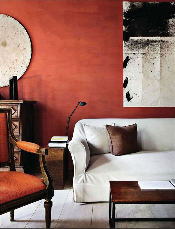 terracotta accent wall