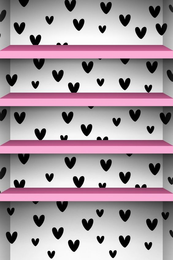 White shelves wallpaper : Cute black & white background with pink shelves  phone wallpaper ...