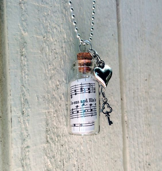 hymn necklace I Love To Tell The Story hymn Jewelry by GospelHymns