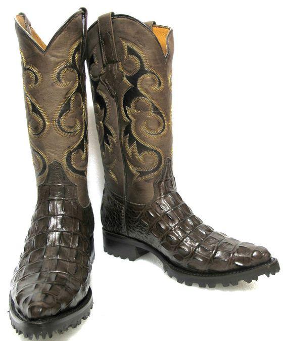 Crocodile Alligator back cut design biker work cowboy western shoes boots J-toe #ElPresidenteCO #CowboyWestern