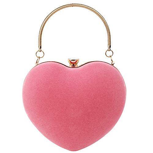 Heart Shaped Evening Clutch Bag Purse Chain Messenger Shoulder Handbag Tote Bags