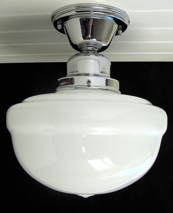 Reproduction Schoolhouse Ceiling Light Opal Glass by Vintporium