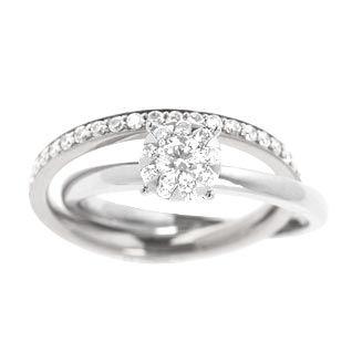 ONEKISS - Diamants 0,71ct - Alliance pavée or Blanc 18k liée sur Bague Or Blanc 18k