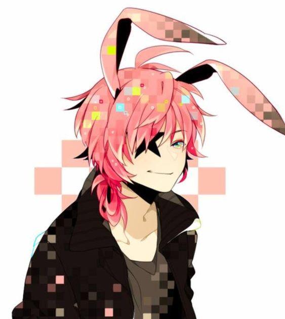 anime boy pink hair: Pink Bunny Ears Hair Star Anime