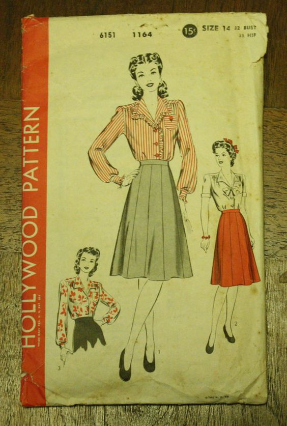 Hollywood 1164 1940s 40s Blouse Skirt Sewing by EleanorMeriwether, $14.00
