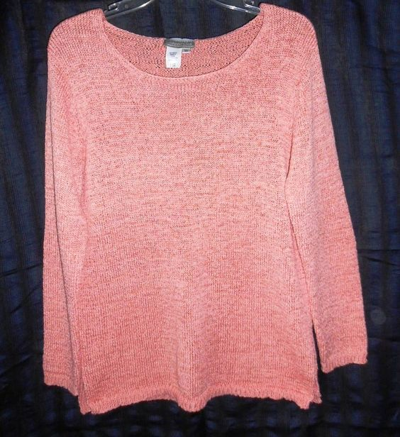 Coldwater Creek Women's Sweater Size M Knit Crew Neck Coral Pink Long Sleeve…