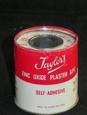 VINTAGE ZINC OXIDE PLASTER ROLL & TIN, Edward Taylor Morton Manchester 1960s