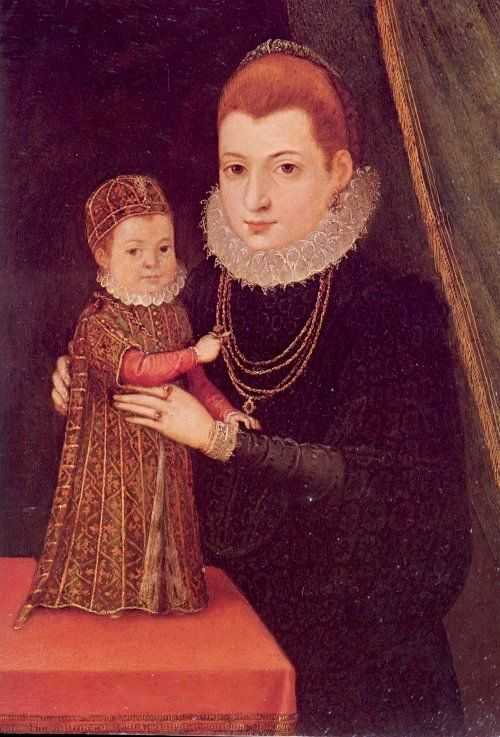 Inspiration for young Snow White attire -      more blossom details for a girl, puffy sleeves and long bound hair. (Mary, Queen of Scots with infant son James)