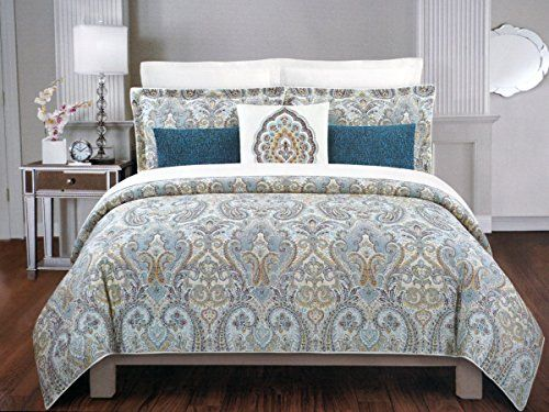 nicole miller 3 piece cotton king size duvet cover set blue red mustard green paisley medallions on cream nicole miller