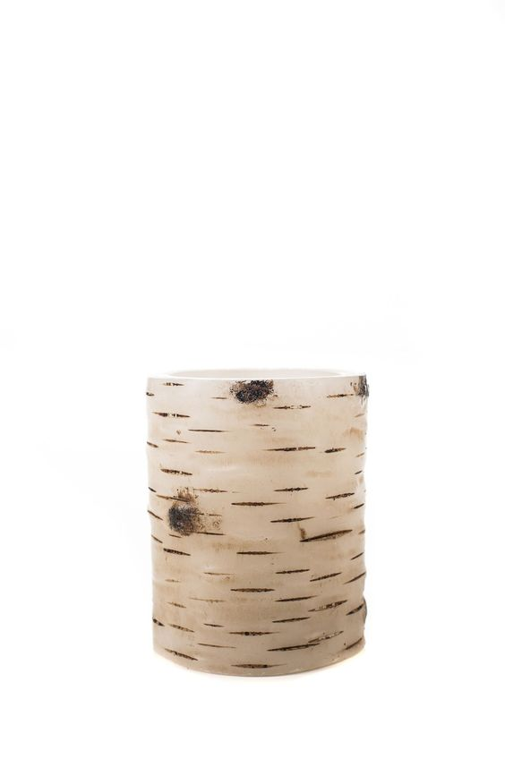 Birch Bark Series Flameless Pillar Candle