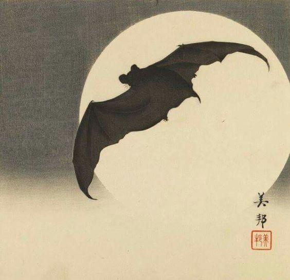 Biho Takashi , Bat Before the Moon, Japan, 1910