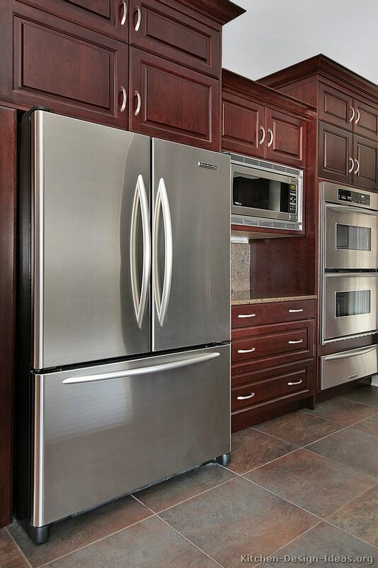 Traditional Dark Woodcherry Kitchen Cabinets #42 Kitchendesign Interesting Cherry Kitchen Design Design Decoration