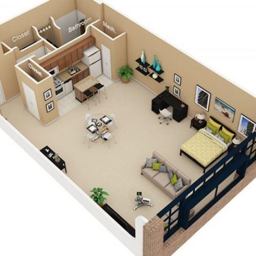Planos de apartamentos pequeños de un dormitorio | Studio ...