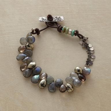 This also resembles the labradorite and lucite bracelet featured in Stringing Magazine.  bracelet Smoky quartz, labradorite and pyrite. Sterling silver paillettes from Sundance