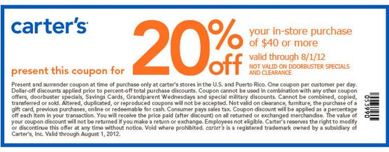 Carters coupons in store printable