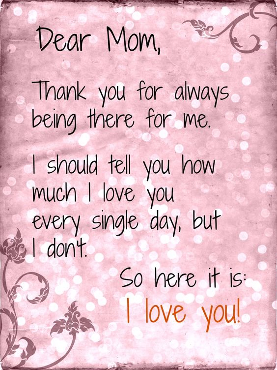 Thank You Letter To Mom Thank You Mom Quotes From Daughter Google