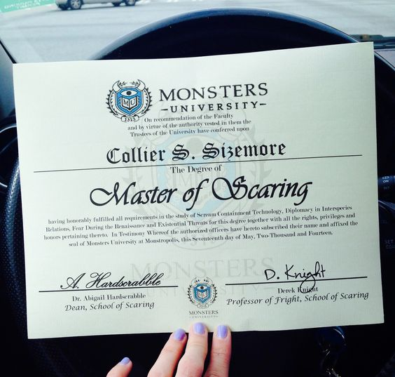 Free downloadable Monsters University Degree