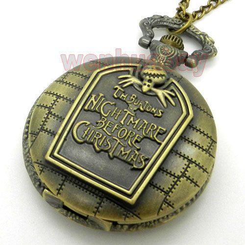 Nightmare Before Christmas Quartz Pocket Watch Necklace Pendant Xmas Gift P49