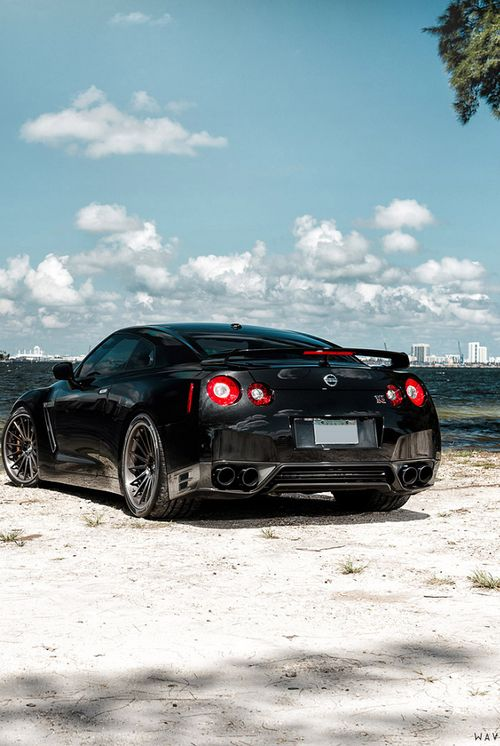 Nissan GT-R on the beach