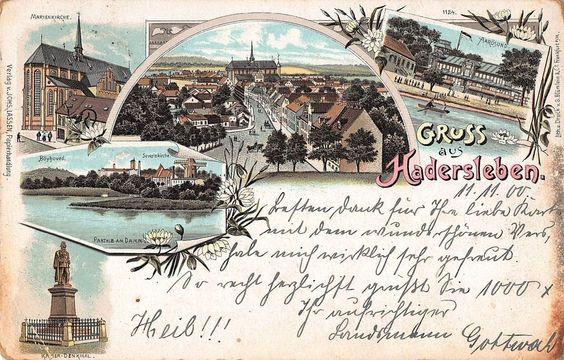 Gruss aus Hadersleben Mehrbildkarte Teilansichten Lithographie gl1900 150.122